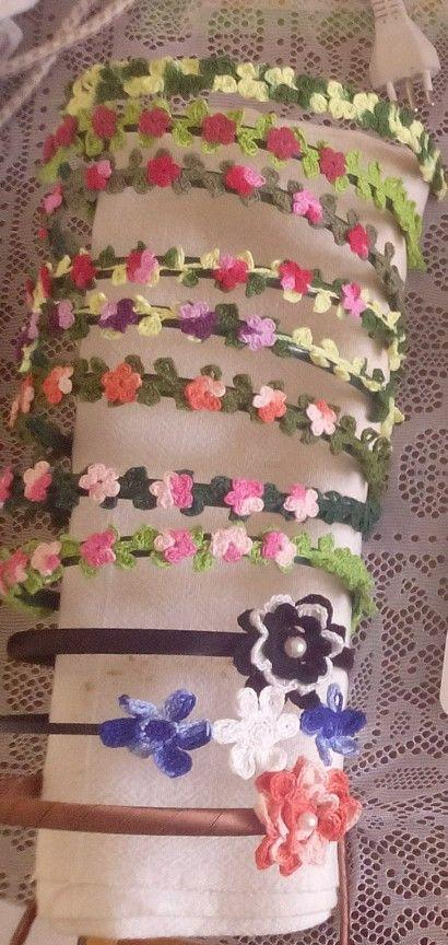 Headbands. Cintillos con flores a crochet,