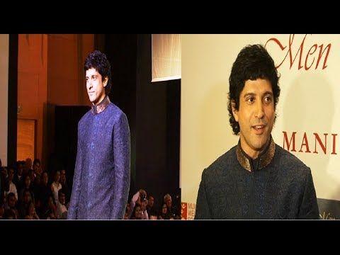 Farhan Akhtar walks the ramp for MEN FOR MIJWAN fashion show.