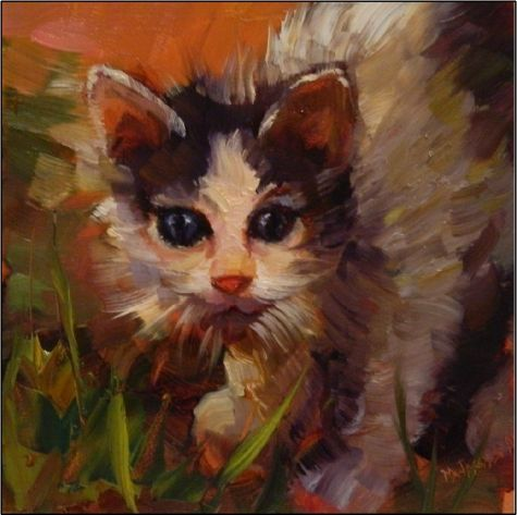 Looking for Catnip , 6x6, oil on panel, paintings of kittens, little cats, animal portraits, painting by artist Maryanne Jacobsen