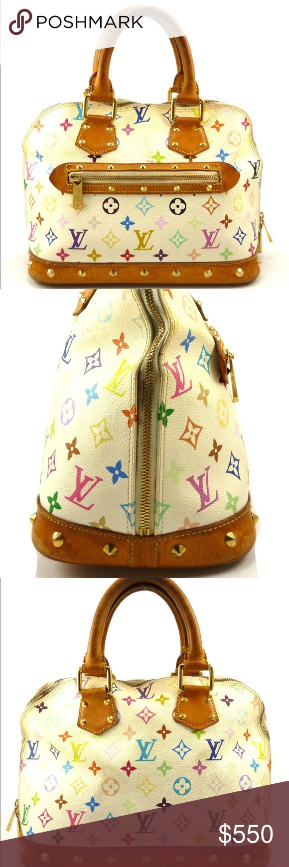 Louis Vuitton Auth Multicolore Alma MM Hand Bag From the Takashi Murakami collection. White and multicolored Monogram on coated canvas with brass hardware, vachetta leather accents, pyramid studs and an exterior zip pocket. In good pre-owned condition. Light wear to the canvas with some darkening on the leather handles. The interior is very clean. Guaranteed authentic. Date Code: FL0014 (France 2004) Sorry no trades at this time. Please feel free to ask any questions. 103311 Louis Vuitton…