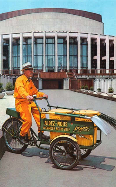 Montreal hired cleaning crews for Expo 67. Love these guys yellow unis and the font.