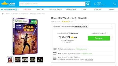 [Submarino] Game Star Wars ( Kinect ) - Xbox 360 - de R$ 99,90 por R$ 58,49