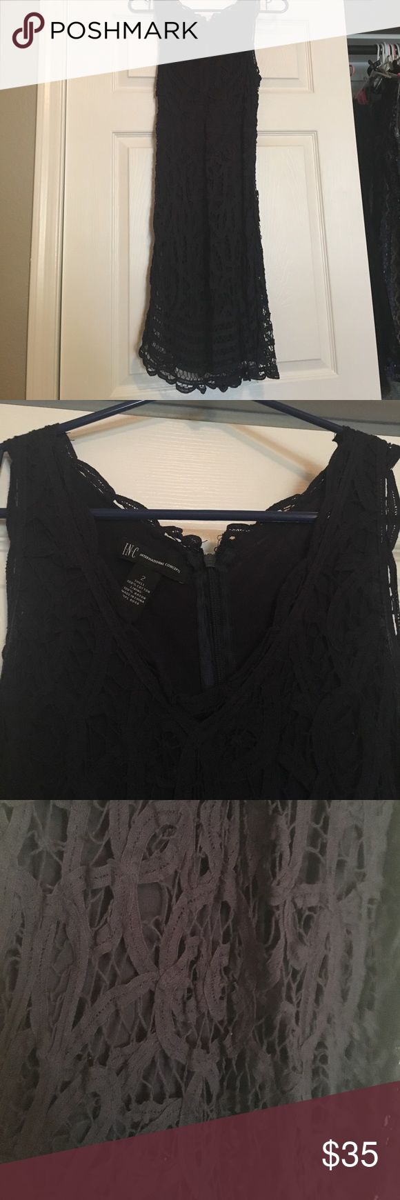 Navy blue INC dress Navy blue INC dress. Worn once. Very flattering. Zip up back. Cottony lace pattern over cotton lining. Lace goes slightly longer than slip for additional cuteness INC International Concepts Dresses