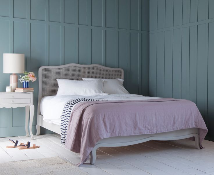 Loaf's Margot bed with a French style rattan headboard now comes in a scuffed grey finish.