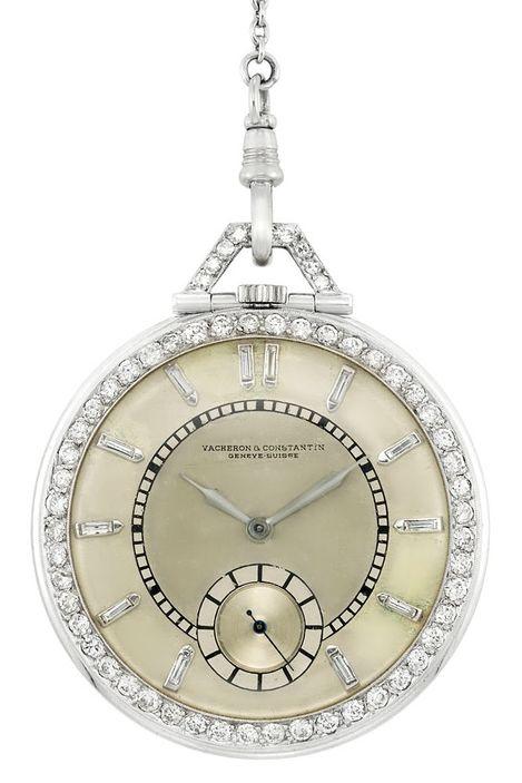 Art Deco Platinum and Diamond Open Face Pocket Watch, Vacheron Constantin, with Diamond and Black Onyx Chain  58 diamonds ap. 1.60 cts., subsidiary seconds, dia. ap. 42.4 mm., movement  dial signed Vacheron  Constantin, Geneve, Suisse, case not original, c. 1930, ap. 35.2 dwt. gross.