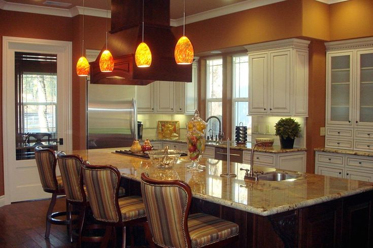 Pendant Track Lighting Kitchen Traditional with Green Lighted Pot Racks and Accessories