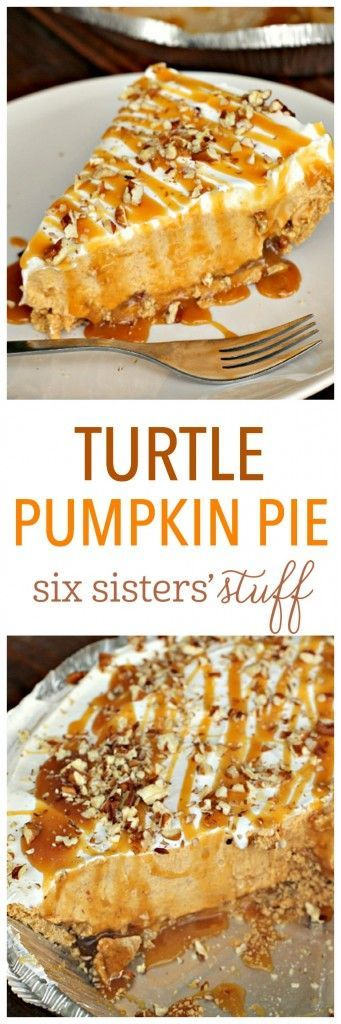 Turtle Pumpkin PIe on SixSistersStuff.com | Nothing is as classic as pumpkin pie, but this Turtle Pumpkin Pie is going to give it a run for it's money! If you are looking for a delicious spin on pumpkin pie, look no further! This pie is seriously amazing (and so easy to throw together!).