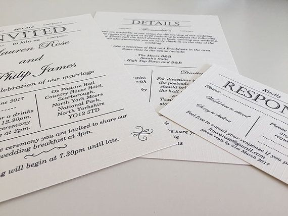 Simple Gatsby Invitation Sample by BespokeByES on Etsy