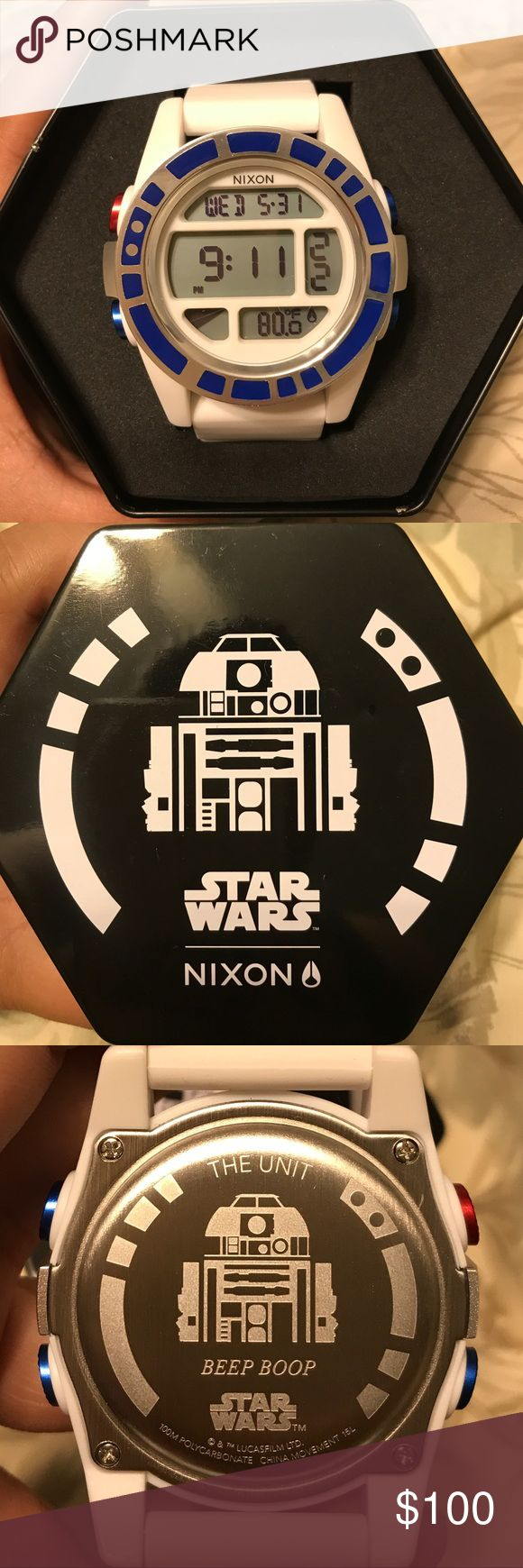 NIXON Unit, Star Wars Nixon Unit, Star Wars collection. R2-D2. Digital watch. Features include alarm, stopwatch, and timer. Watch shows day of the week, date, time, and temperature. Band still white and brand new. No scratches. Never worn. Watch comes with original case. Nixon Accessories Watches