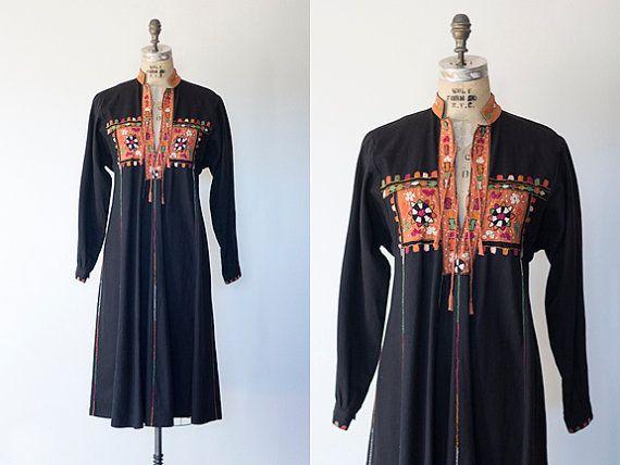 EL BALCON dress  1970s black cotton maxi dress ethnic afghan