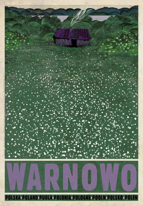 illustration polonaise : Ryszard Kaja, affiche de tourisme, Pologne, vert - violet, campagne