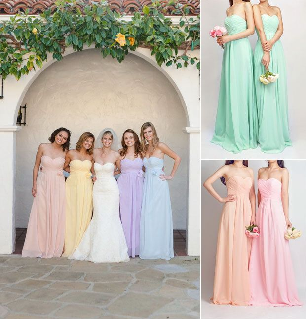watercolor inspired mismatched bridesmaid dresses styles
