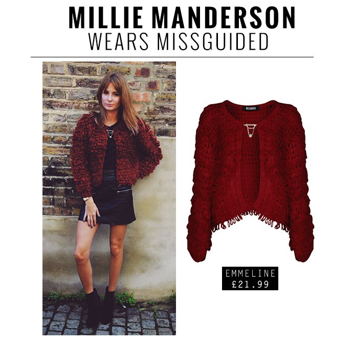Watching Made in Chelsea?! Need more?! How about THIS...Millie Manderson rocking Missguided's very own burgundy beauty - The Emmeline cardigan £21.99