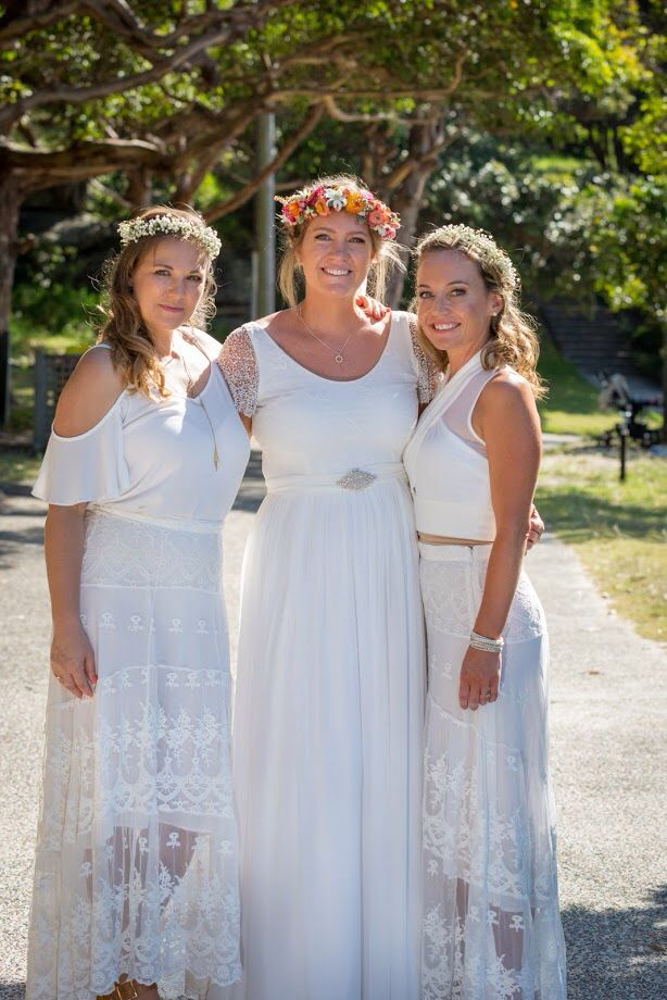 Grace Loves Lace 'Clare' dress. Bridesmaids chose their own tops to go with Spell Byron Bay skirts