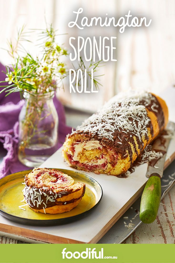 A lamington recipe with a little difference! Enjoy the Australian classic in sponge roll form with this jam-and-cream-filled, chocolate-coated cake. It serves 8 and takes 38 minutes to make.