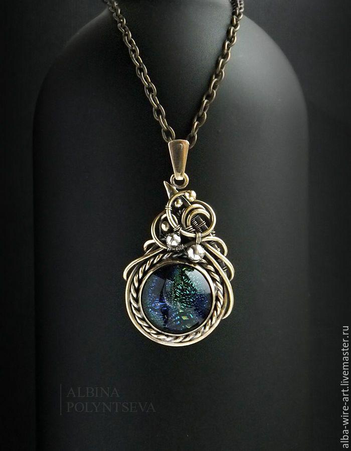 """Купить Кулон """"Андромеда"""" из латуни и дихроического стекла - комбинированный, синий, зеленый, золотой, латунный кулон"""