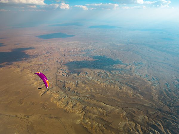 Paragliding Above the Red Desert, Wyoming