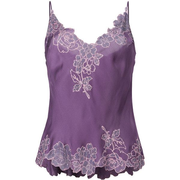 Carine Gilson lace detail camisole ($854) ❤ liked on Polyvore featuring intimates, camis, carine gilson, purple cami, silk cami, purple camisole and purple silk camisole