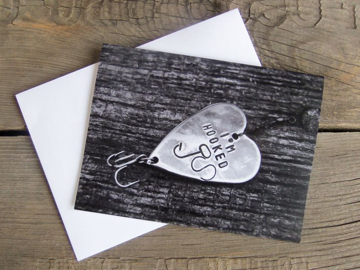 Father's Day Card I'm Hooked Birthday Cards Fishing Themed Wedding Kids Party Invites Greeting Card Rustic Custom Cards Men Anniversary Boy