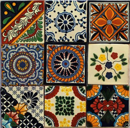W137  -- Set of 9  Mexican Tiles Hand-Made Talavera