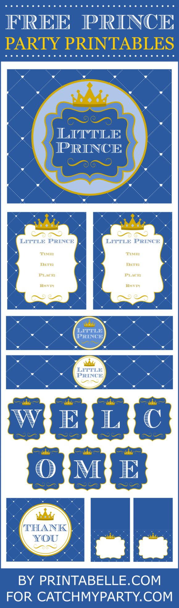 Free Prince party printables perfect for a boy baby shower or boy 1st birthday! | CatchMyParty.com