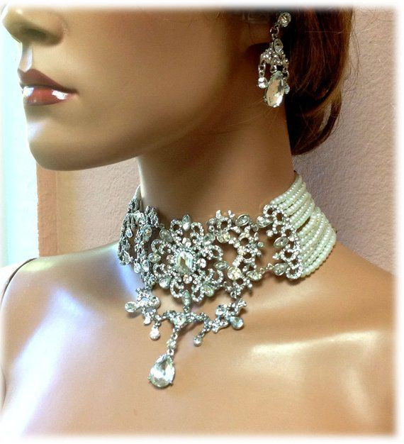 Bridal jewelry vintage inspired Victorian pearl crystal necklace Bridal choker statement necklace earrings Gothic wedding jewelry set