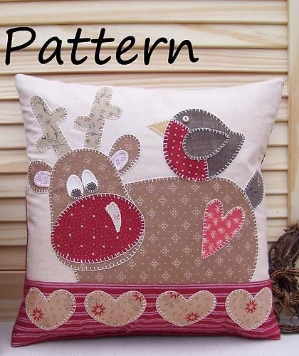 Reindeer and robin cushion- Christmas