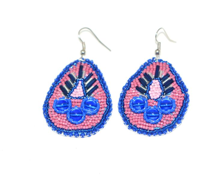 Bead Embroidered Native Earrings by TheCHMBeads on Etsy