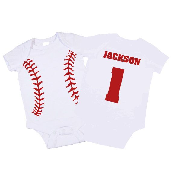 Personalized Baseball Onesie. Great Baby Shower Gift / 1st Birthday Present. Baseball Boy Clothes. (Toddler Shirt Avail) on Etsy, $22.00