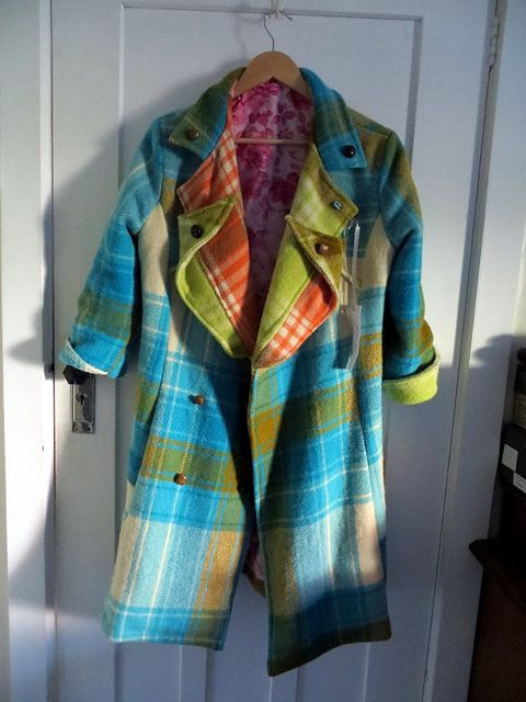 my new upcycled vintage wool blanket  technicolour dreamcoat:)