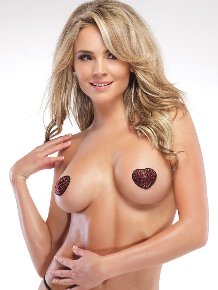 A pin-up inspired nipple cover that leaves just enough to the imagination! With reusable, self adhesive backing, this heart-shaped style is decorated with shining sequins.
