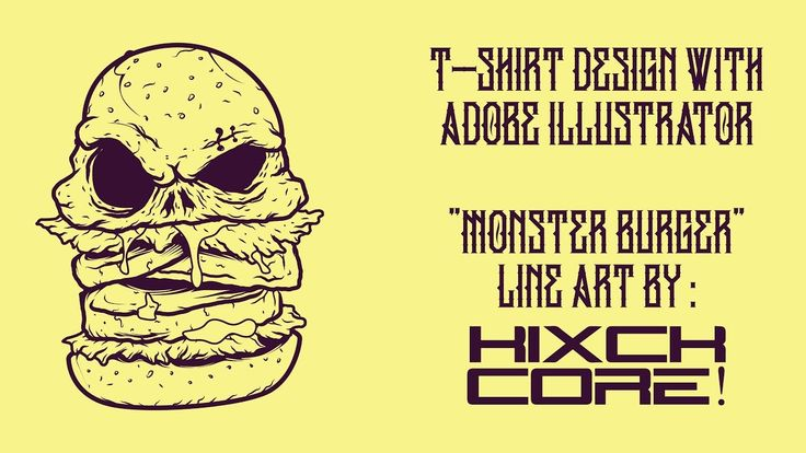 adobe illustrator : monster burger t-shirt design