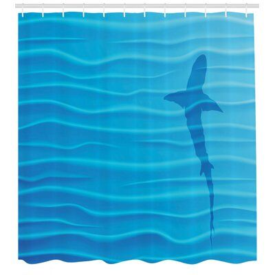 East Urban Home Ambesonne Sea Animals Shower Curtain, Shark Silhouette In Water Waves Shadow Danger Summertime Marine Life Artwork Print, Cloth Fabric