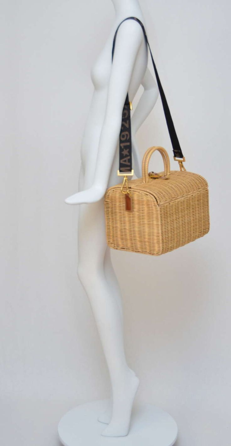 Fendi Straw Wicker Handbag With Leather Case NEW | From a collection of rare vintage handbags and purses at https://www.1stdibs.com/fashion/handbags-purses-bags/handbags-purses-bags/