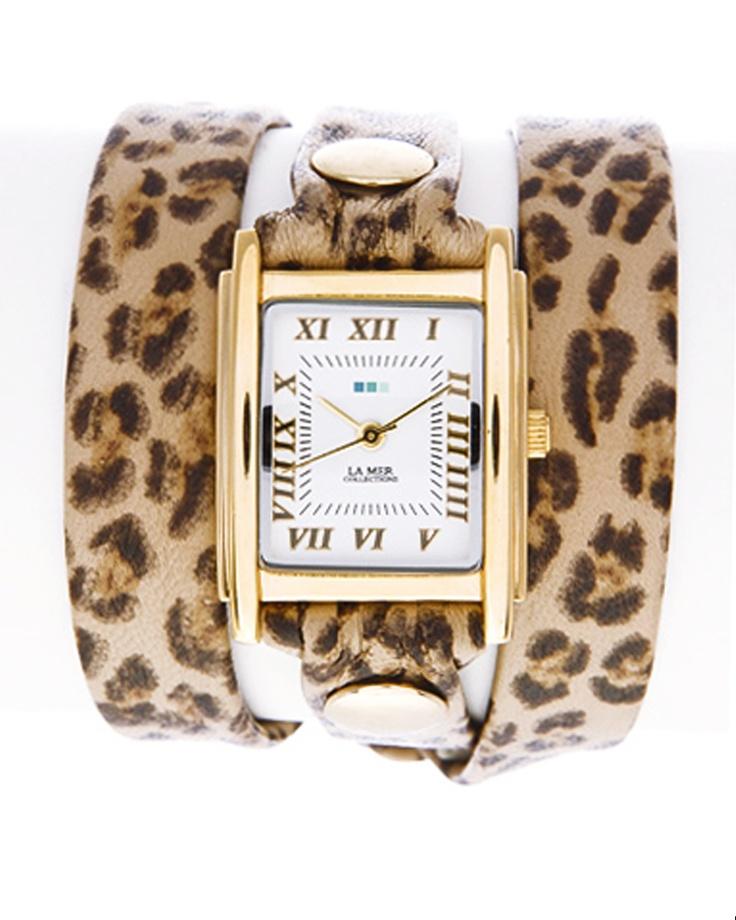 La Mer Animal Print Wrap Watch - Leopard