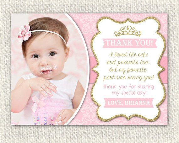 Gold And Pink Princess Thank You Card Printable Download Birthday Thank Y Christening Invitations Girl Christening Invitations Boy Birthday Thank You Notes