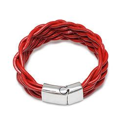 Red Braided Leather Bracelet