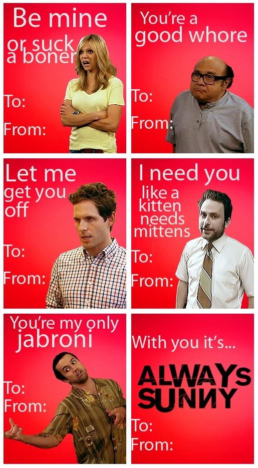 Aww! Such sweet Valentine cards featuring IASIP. (Except it's kitten mittons...not kitten mittens.)