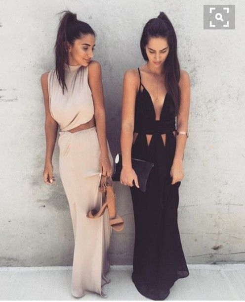 Wheretoget - Nude maxi dress and black maxi dress with cutouts