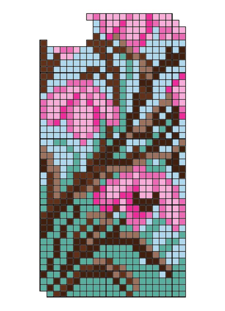 iPhone 5 cross stitch DIY cherry blossom phone case design by Louisa Hammond