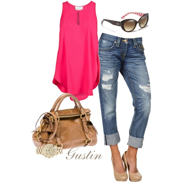casual cute with hot pink: Pink Tops, Fashionista Trends, Jeans, Summer Outfits, Nude Heels, Pump, Hot Pink, Summer Fun, Sweet Fashion