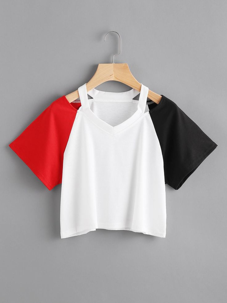 ROMWE - ROMWE Cut Out Neck Contrast Sleeve Tee - AdoreWe.com