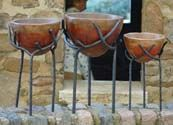 Pottery Set with Forged Iron Base, planters