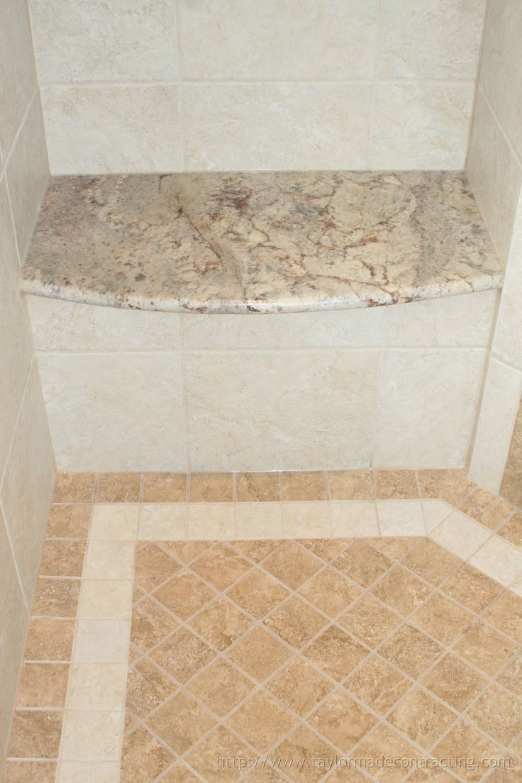 A custom granite-topped shower bench we installed as part of a bathroom remodel.