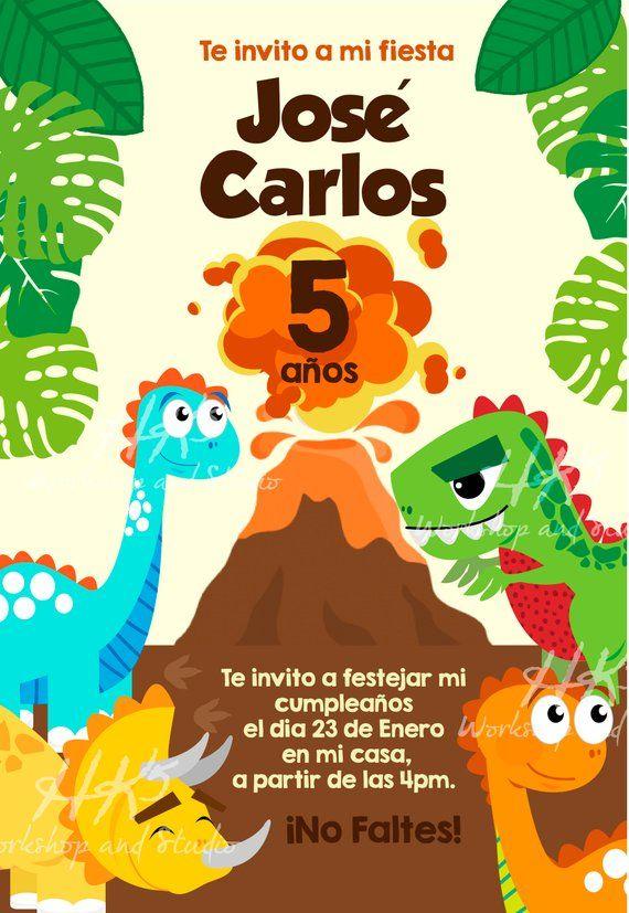 Invitación Dinosaurios Invitación Dino Invitación Más