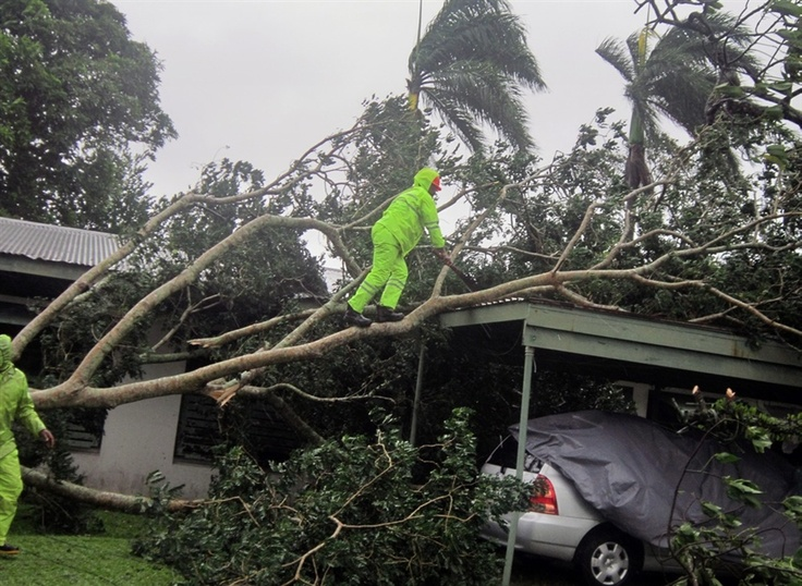 More than 3,500 people evacuated to emergency shelters in Fiji as the biggest cyclone in 20 years swept across the Pacific island nation on Monday, three days after the storm killed four people and destroyed thousands of homes in nearby Samoa. (via NBC News; photo via Joshua Kuku / AFP - Getty Images)