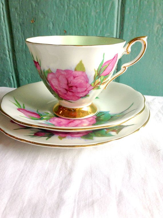 Pink rose tea cup saucer and side plate set - vintage teacup set - gilt footed tea cup in bone china - roses of the world flowers