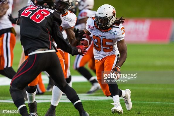 BC Lions Shaquille MurrayLawrence during Canadian Football League action between the BC Lions and Ottawa RedBlacks at TD Place in Ottawa ON Canada
