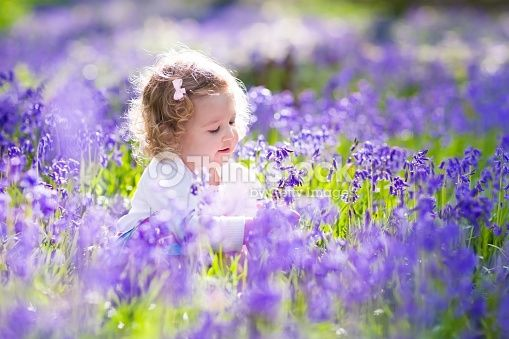 Little girl playing in sunny blooming garden. Baby on Easter egg hunt in blue bell flower meadow. Toddler child picking bluebell flowers. Kids play outdoors. Spring fun for family with children.