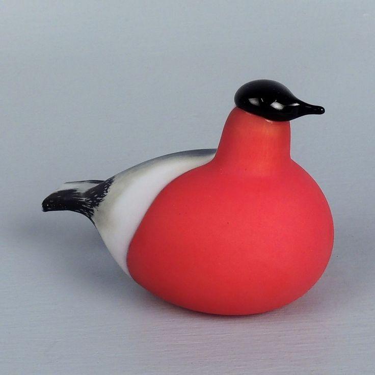 Labelled Iittala Bullfinch Finnish Art Glass Bird - Oiva Toikka Nuutajarvi - GL
